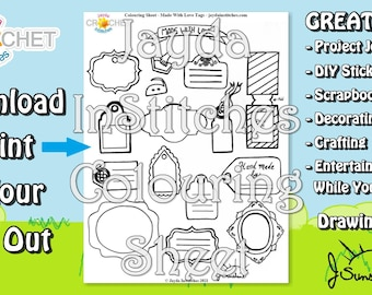"""Colouring Sheet """"Made With Love"""" Themed Tags - PDF Digital DOWNLOAD 1 Page - for Gifting, Scrapbooking or Journaling - Jayda InStitches"""