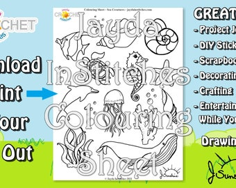 Colouring Sheet Sea Creatures Theme - PDF Digital DOWNLOAD 1 Page - Adult or Kids for Scrapbooking or Journaling - Jayda InStitches