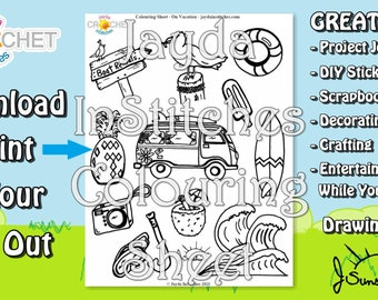 """Colouring Sheet """"On Vacation"""" Theme - PDF Digital DOWNLOAD 1 Page - Adult or Kids for Scrapbooking or Journaling - Jayda InStitches"""