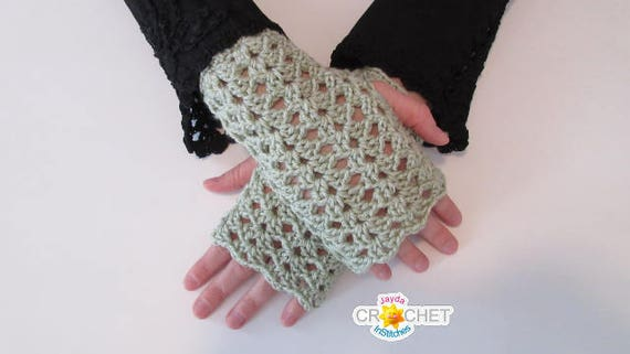 Crochet Lacy Fingerless Gloves Pattern Texting Gloves With Vintage