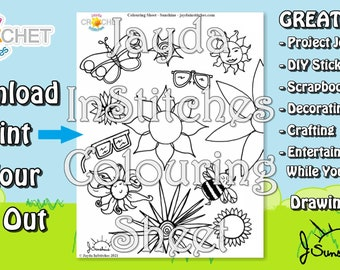 Colouring Sheet Sunshine Theme - PDF Digital DOWNLOAD 1 Page - Adults or Kids for Scrapbooking or Journaling - Jayda InStitches