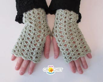 Crochet Lacy Fingerless Gloves Pattern - Texting Gloves with Vintage Split Shell Pattern! - PDF - Jayda InStitches