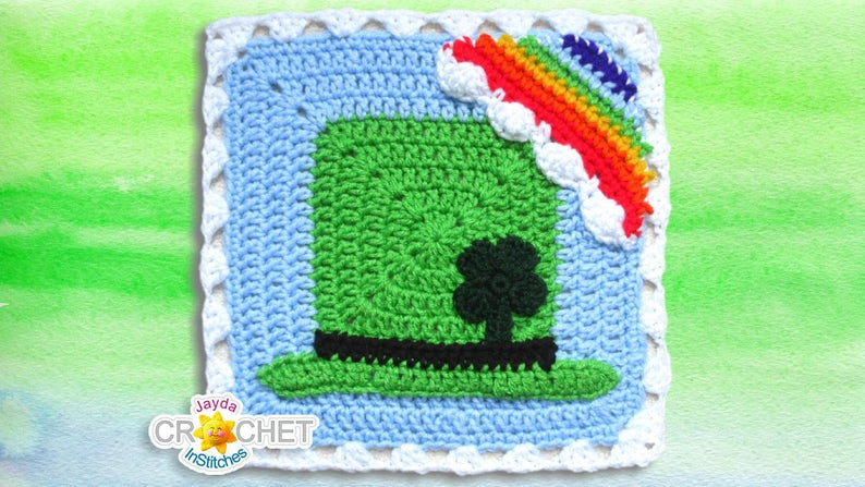Crochet Leprechaun Hat Square Motif PDF Pattern 11.5 inch  2aaaf8dd19b