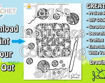 Colouring Sheet Granny Square Theme - PDF Digital DOWNLOAD 1 Page - for Scrapbooking or Journaling - Jayda InStitches