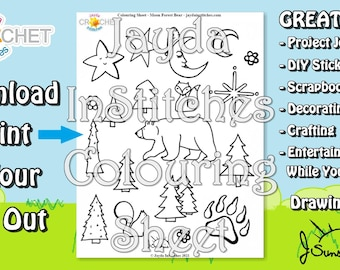 """Colouring Sheet """"Moon, Forest & Bear"""" Theme - PDF Digital DOWNLOAD 1 Page - Adult or Kids for Scrapbooking or Journaling - Jayda InStitches"""