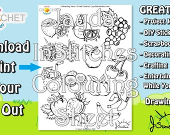 """Colouring Sheet """"Fruit Festival"""" Theme - PDF Digital DOWNLOAD 1 Page - Adult or Kids for Scrapbooking or Journaling - Jayda InStitches"""