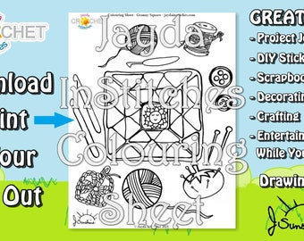 Colouring Sheet Granny Square Doodle Theme - PDF Digital DOWNLOAD 1 Page - for Scrapbooking or Journaling - Jayda InStitches