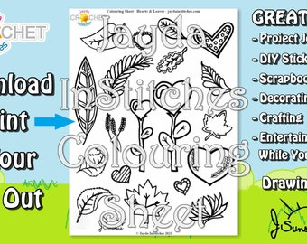 Colouring Sheet Hearts & Leaves Theme - PDF Digital DOWNLOAD 1 Page - Adult or Kids for Scrapbooking or Journaling - Jayda InStitches