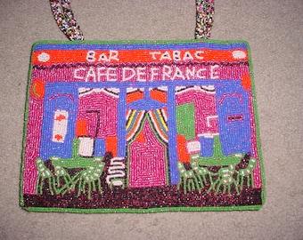 Vintage Hand Beaded CAFE DE FRANCE Colorful Handbag Purse Hand Bag