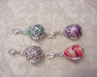 ONE ~ Enamel Crystal Egg Charm Pendant Locket ~ Vintage ~ You Choose One!