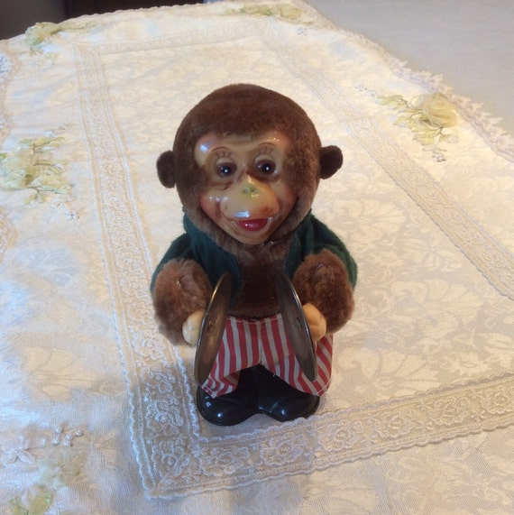 Vintage Wind Up Plush Monkey With Musical Symbols Works Etsy