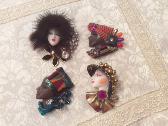 Vintage LADY FACE Painted Pins Brooches ~ Very Pretty! Choose One
