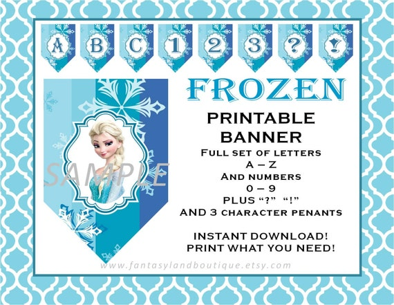 image relating to Frozen Banner Printable identify FROZEN Banner A toward Z and Quantities Printable occasion decorations materials elsa anna olaf