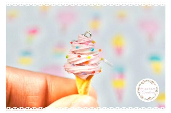 Miniature Vanilla Ice Cream Cone Polymer Clay Earrings