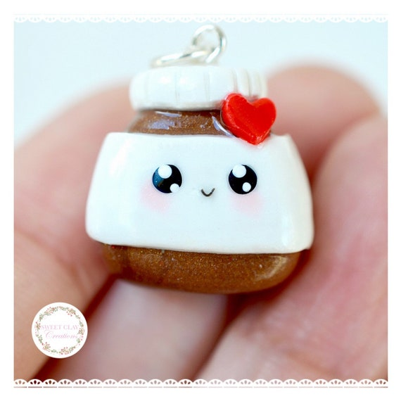 Nutella Kawaii Charm Pendant Necklace Miniature Food Jewelry Polymer Clay Gif Girl
