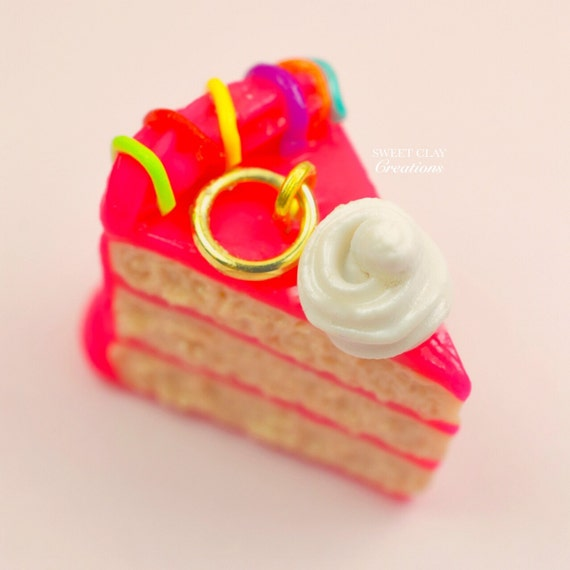 Tremendous Hot Pink Birthday Cake Rainbow Charm Necklace Miniature Food Etsy Funny Birthday Cards Online Overcheapnameinfo