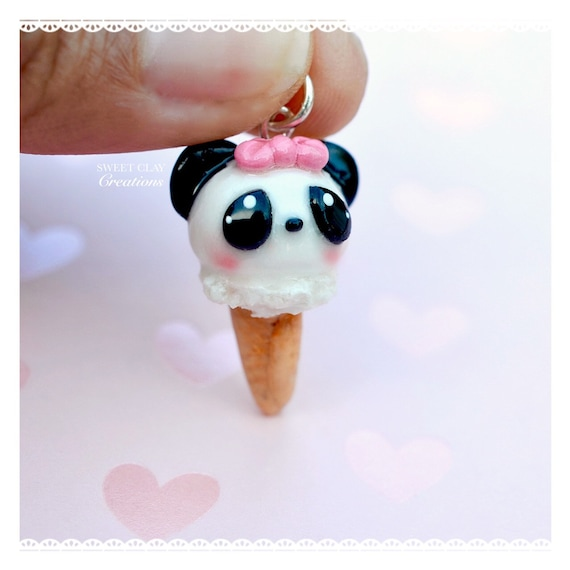 Mini Panda Ice Cream Kawaii Charm Pendant Necklace Miniature Food Jewelry Polymer Clay Handmade Gift Girl Mini Panda Ice Cream Kawaii Charm Pendant