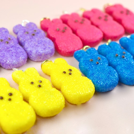 Kids Easter Peeps Bunny Necklace Polymer Clay Little Girls