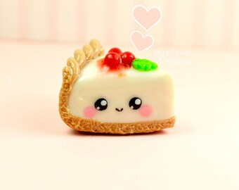 Cheesecake Kawaii Charm Necklace Miniature Food Jewelry Polymer Clay Handmade Gift Girl
