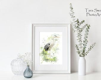 Watercolour Heron Print 11 x 14
