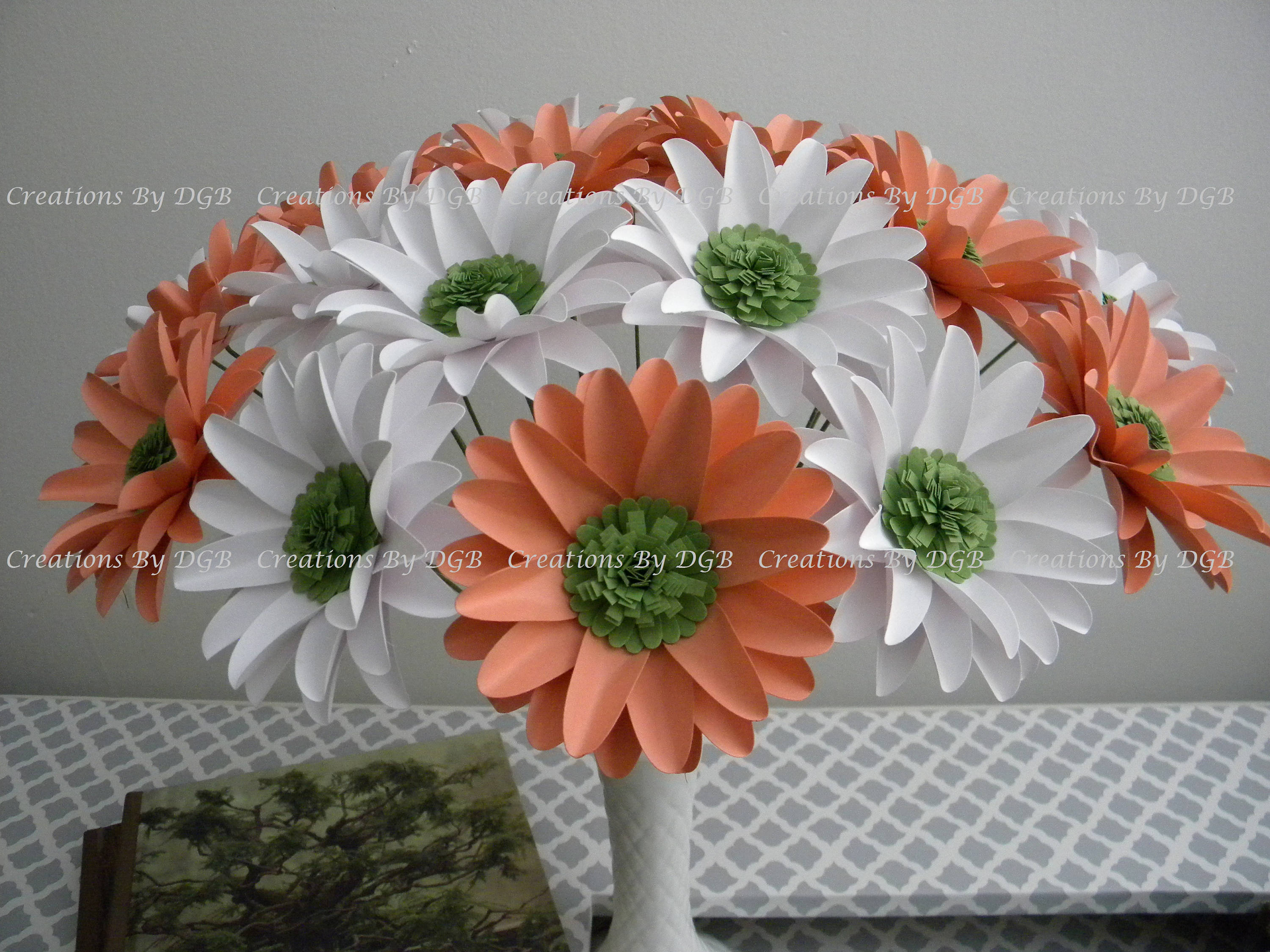 Gerbera Daisies Paper Flowers White And Light Coral Salmon Etsy