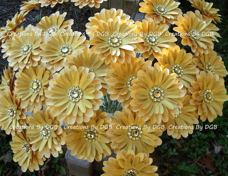 Stemmed Daisy Paper Flowers Gold Color Wedding Centerpiece Brides Bouquet Bridesmaid Bouquet Gold Paper Flowers Favor Box Cake Toppers