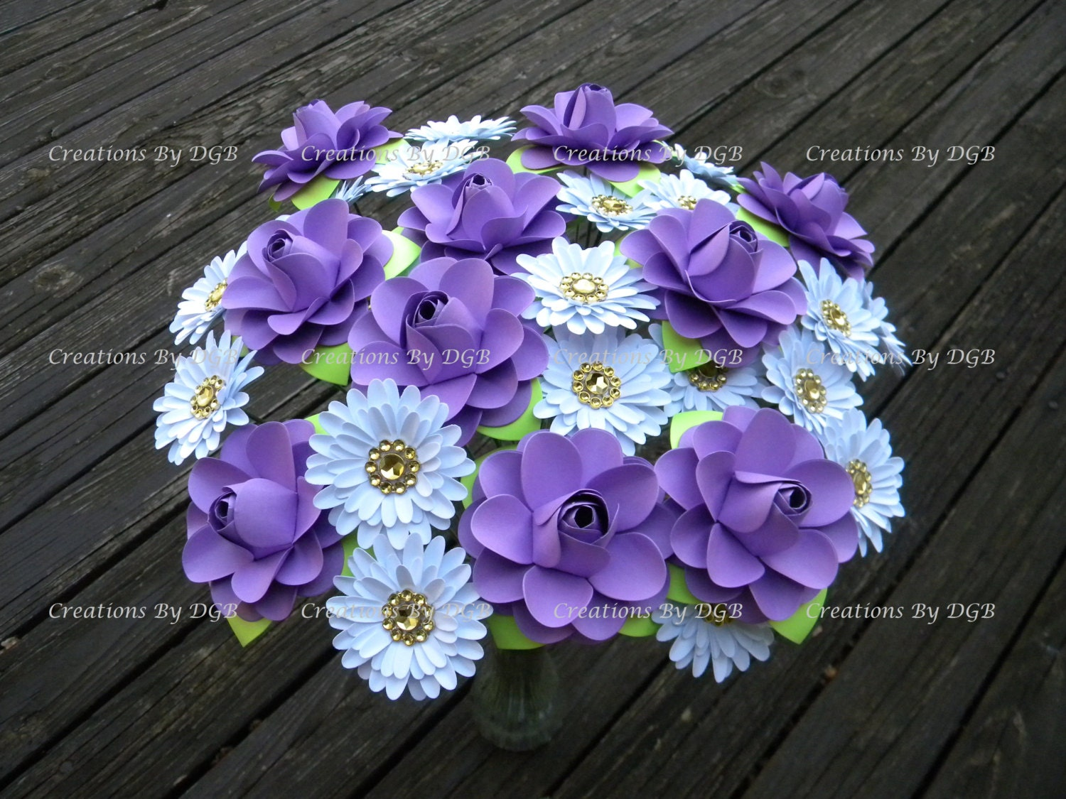 Paper Flowers Mix Lavender And White Flowers Stemmed Made To Order 30 Pcs For Weddings Bouquets Centerpiece