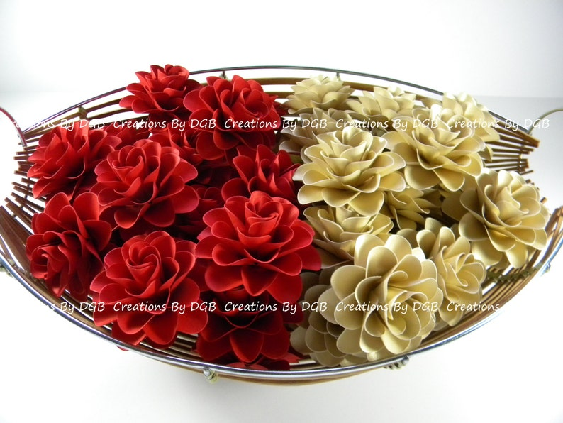 Wedding Paper Flowers Red And Gold Paper Flowers For Wedding Table Decorations Favor Boxes Flowers Cake Toppers 50 Pcs Made To Order