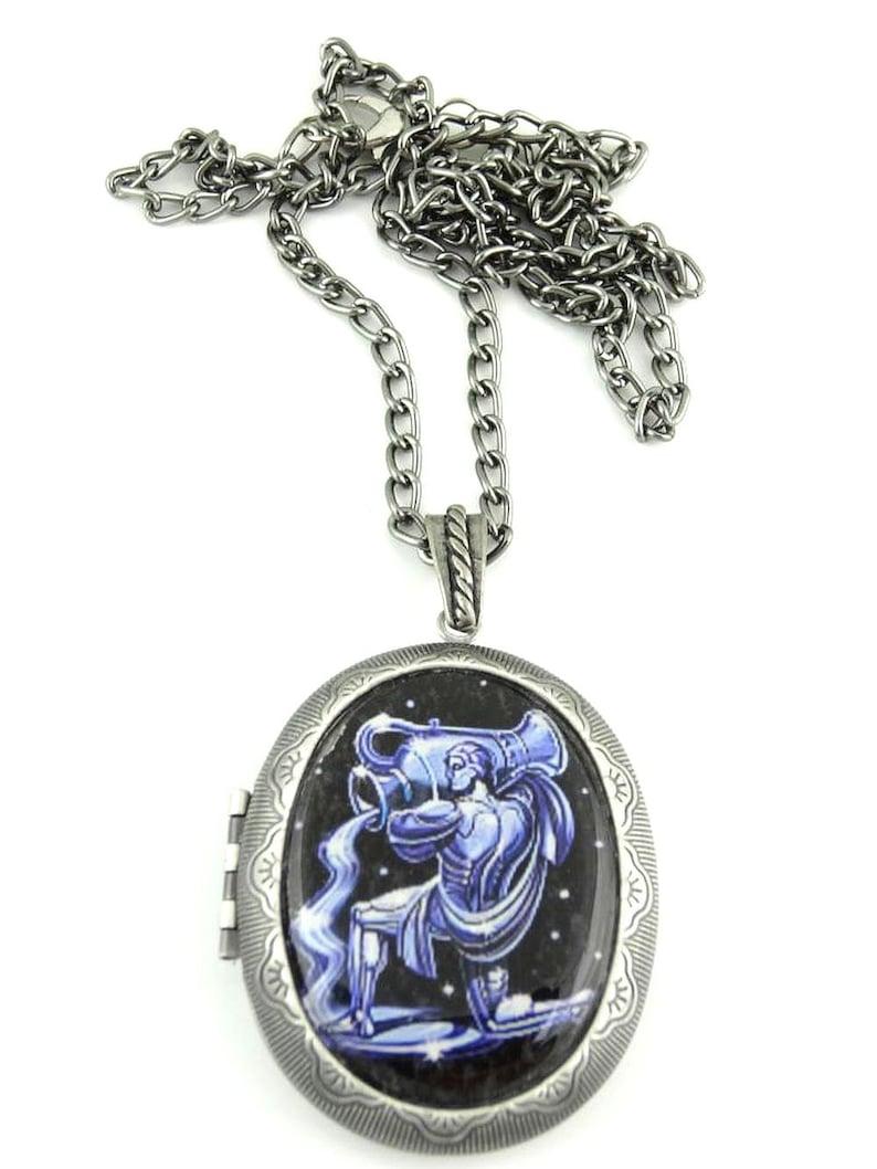 Locket Aquarius Locket /& Gift bag Zodiac Jewelry Jewelry Aquarius Jewellery Jewellery Astrology Locket Necklace Aquarius Necklace