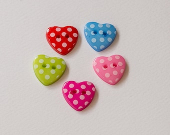 Heart-shaped spotty buttons