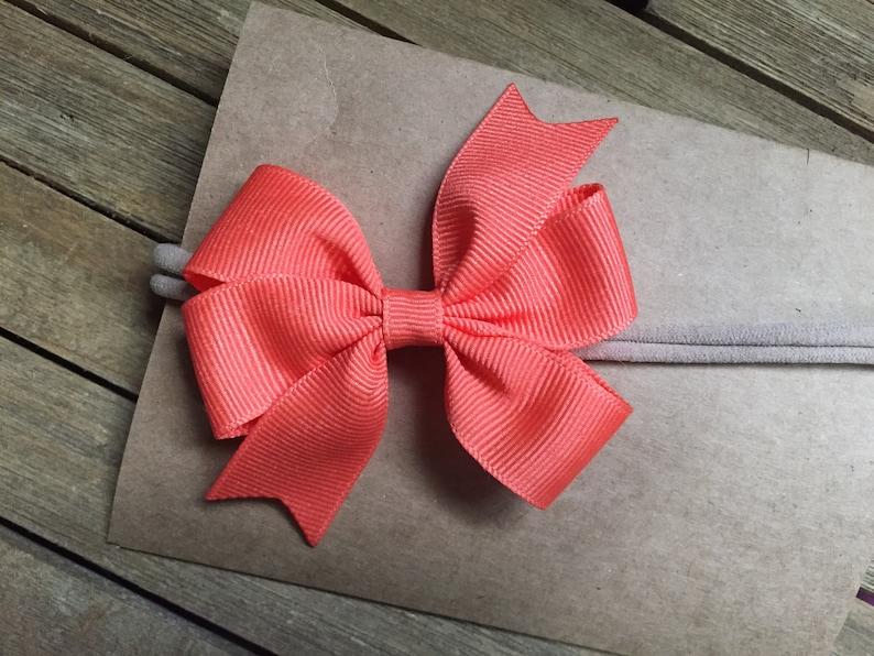 Living Coral Baby Headband Newborn Headband Headbands for Baby Nylon Headband Pinwheel Baby Bow Headband Many Colors Available