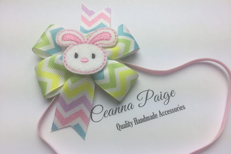 Bunny Bow Headband- Baby/'s First Easter Easter Hair Bow Headband Easter Headband Bunny Headband Bunny Hair Bow Easter Hair Bow