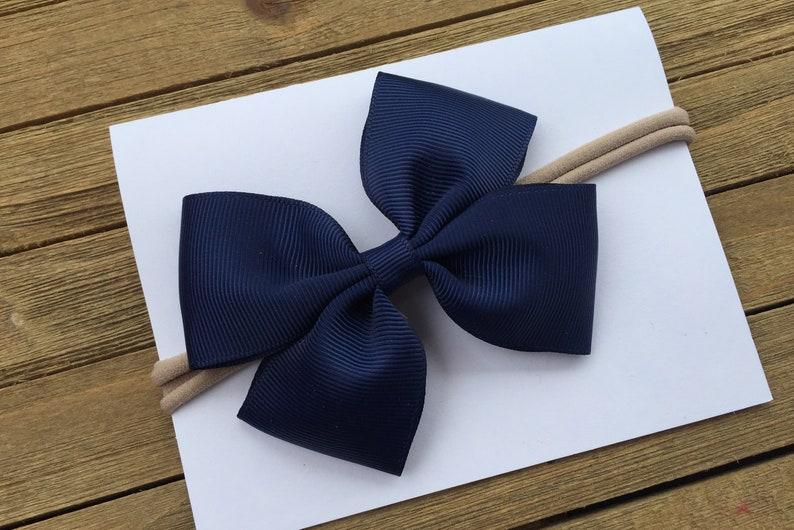 Cute Baby Headband Baby Shower gift Navy Blue Nylon Baby Headband 3.5 Inch Hair Bow 27 colors Available Nylon headband for babies