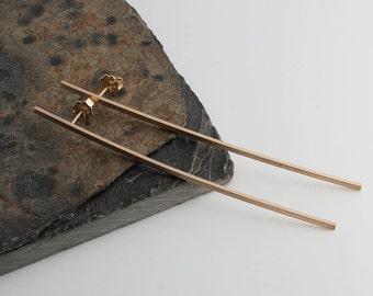 Long Bar Earrings, Handmade Matte Post Earrings, Stud Earrings, Earrings, Shiny Earrings