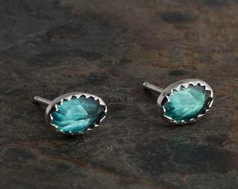Green Topaz Stud Earrings, Topaz Earrings, Stud Earrings, Sterling Silver Studs, Silver Earrings, Minimalist Jewelry, Handmade Earrings