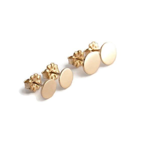 Gold Flat Disc Earrings Disc Earrings Gold Stud Earrings