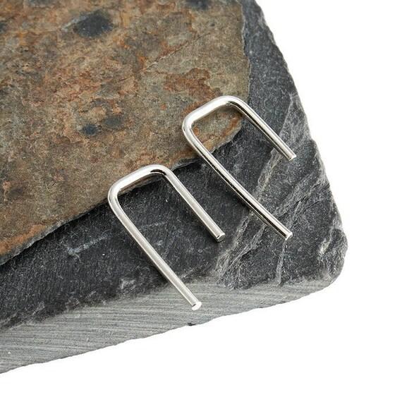 Sterling Silver Flattened Hammered Line 14mm Arc Minimalist Line Earrings Horseshoe Wishbone Earrings