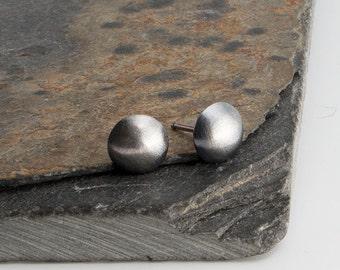 8mm Black Studs, Minimalist Studs, Modern Jewelry, Round Dots, Post Earrings, Handmade Earrings, Silver Earrings, Silver Stud Earrings