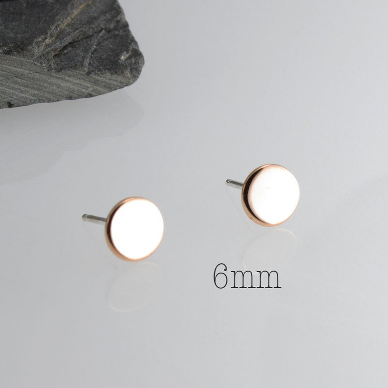 7caad7a8e Rose Gold Flat Round Disc Stud Handmade Earrings RGF-SSP   Etsy