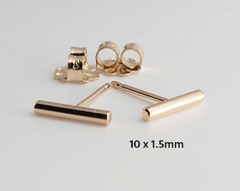 Gold Bar Earrings, Tiny Bar Studs, Goldfilled Studs, Handmade Studs, Bar Studs, Gold Stick, Everyday Earrings, Line Earrings, 10 x 1.5mm