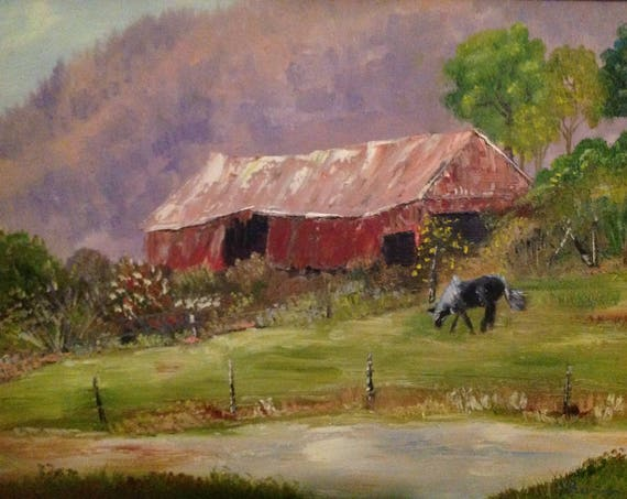 Horse Barn Painting, Landscape Oil Painting, Horse Painting, Barn and Horse, Farm painting, Gifts for Dad