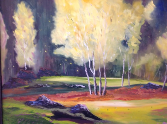 Golden Sycamore, Tree painting, large oil painting,  Landscape Painting