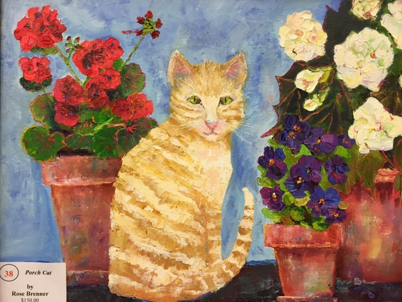 Cat Painting, Garden Lovers, Cat Lovers, Flower Painting,