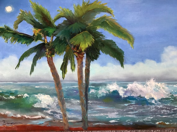 Ocean painting, Jamaica scenery, Seascape, Oil Painting, water art, vacation art
