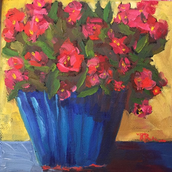 Red flowers, canvas art, Original, Small, Oil Painting, Tiny Still Life, Red Begonias, Summer Flowers