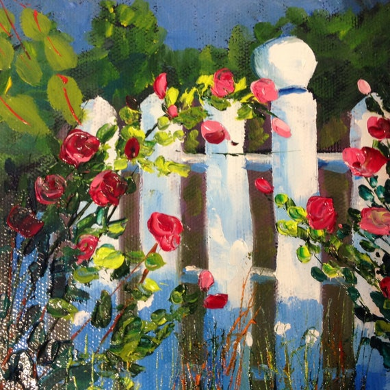 Rose Painting, Small Oil Painting,  Bright Red, Country Rustic Art