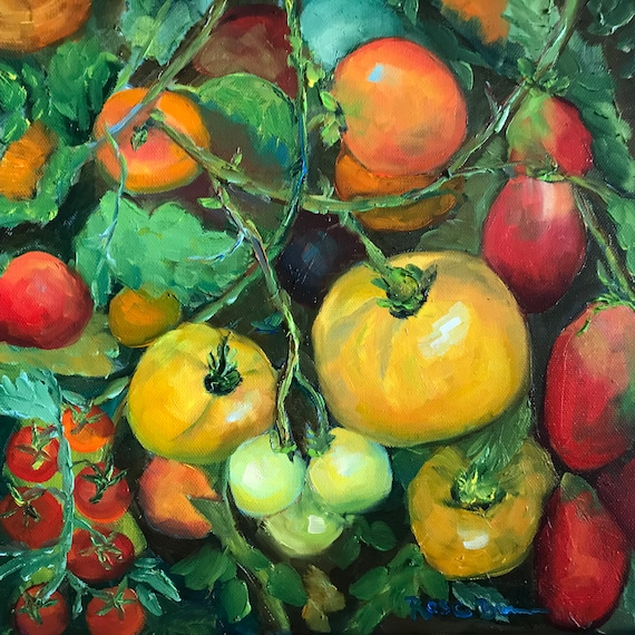 Tomato painting, kitchen art, vegetables, garden painting, Oil Painting, gifts for a gardener