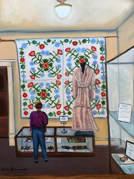 Museum Painting, Quilt art, Canvas Oil Painting, Gifts for Women, Gifts for quilters