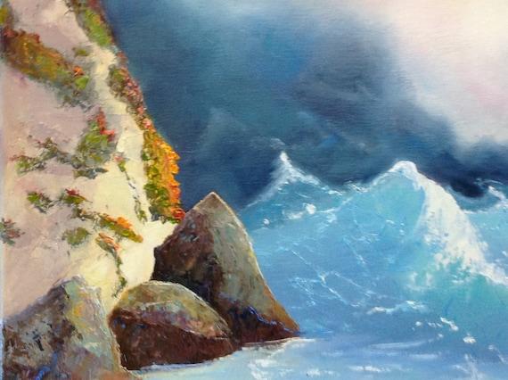 Ocean Painting, Large Painting, Beach Painting, Coastal Tide Pool, Seaside Painting