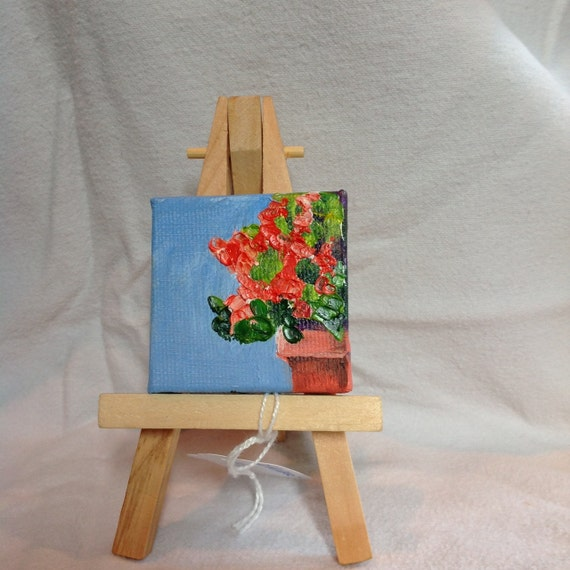 Burnt Orange, Tiny Painting with Easel, Small Art, Painting with Easel